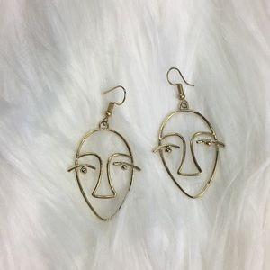 Stylized face earrings, gold tone. Preloved.
